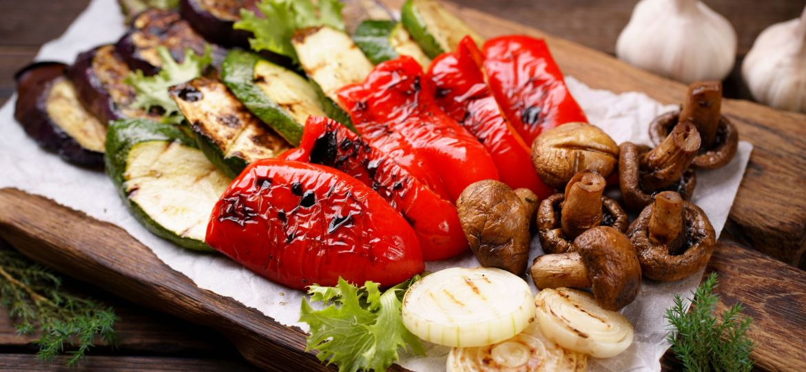 Summer Snack, Grill Bar, Tasty Barbecue Vegetables. Summer Delic