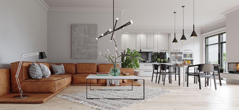 modern living room interior. 3d design illustration
